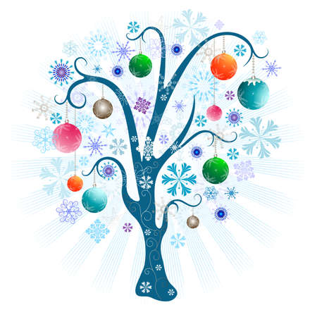 Christmas tree with snowflakes and balls and beams on a white background (vector) Stock Vector - 8494002