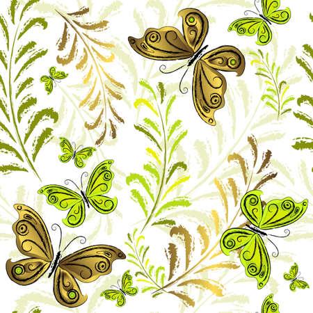 effortless: Blanco de papel tapiz floral sin esfuerzo con mariposas de verdes y oro (vector)