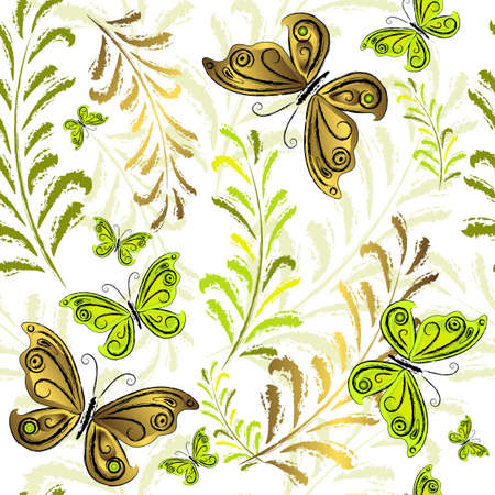 effortless: White effortless floral wallpaper with green and golden butterflies (vector) Illustration