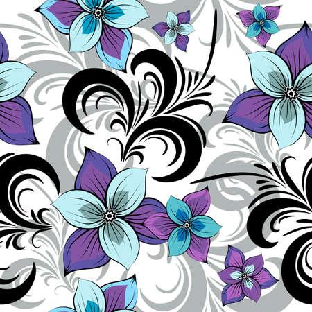 effortless: Blanco patr�n floral transparente con azul violeta flores (vector)