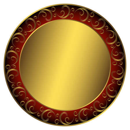 Golden-red-black frame with vintage ornament on white (vector) Vector