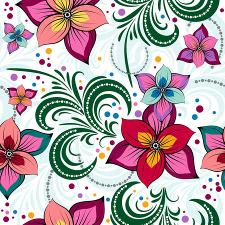 effortless: Floral vivid effortless pattern with colorful flowers and curls (vector)