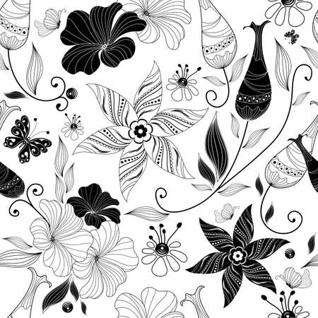 repeating pattern: Seamless white floral pattern with vintage elements (vector) Illustration