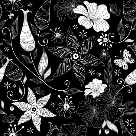 Black effortless floral pattern with vintage elements (vector) Stock Vector - 8506503