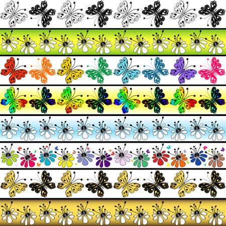 Set seamless vivid  borders with flowers and  butterflies  Vector