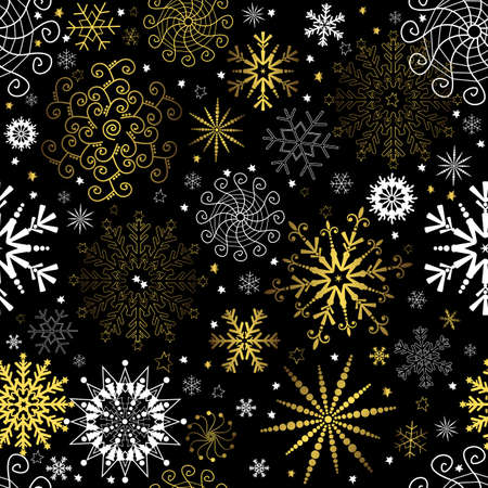 lilas: Seamless black christmas wallpaper with white and golden  snowflakes (vector)