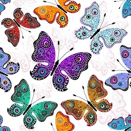 violet red: Effortless white pattern with colorful butterflies (vector)