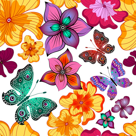 Spring repeating white floral pattern with vivid flowers and butterflies (vector) Illustration