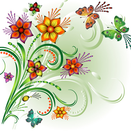 lilas: Spring bright frame with flowers and butterflies (vector)