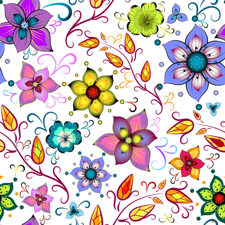 chaotic: Seamless floral pattern with chaotic flowers