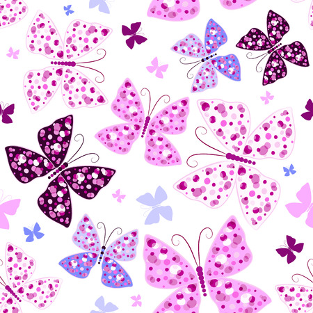 lilas: Seamless white pattern with pink and violet butterflies