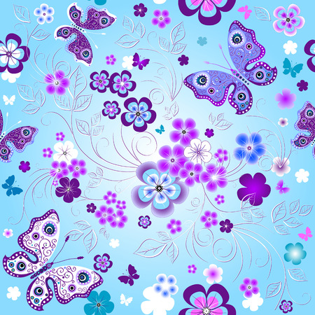 Spring seamless floral pattern with flowers and butterflies  Vector