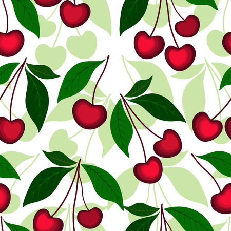 effortless: Floral white effortless pattern with vivid berries