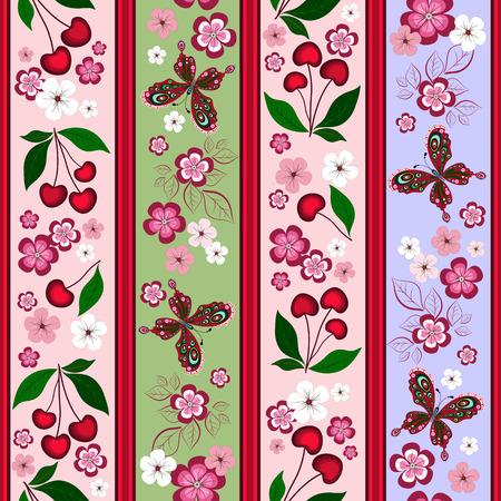 effortless: Floral patr�n de rayas sin esfuerzo con bayas cerezos y mariposas  Vectores