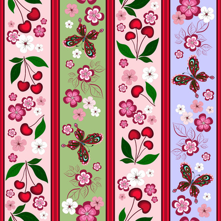 handwork: Floral striped effortless pattern with cherry berries and butterflies  Illustration
