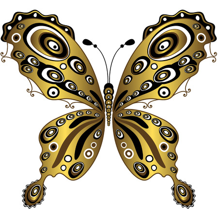 butterfly isolated: Gold decorative butterfly isolated on white