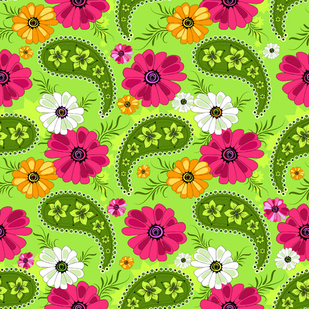 Seamless green floral pattern with vivid flowers and paisleys Vector