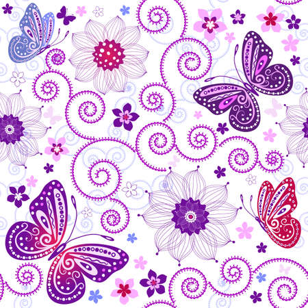 lilas: Floral seamless grunge pattern with flowers and butterflies