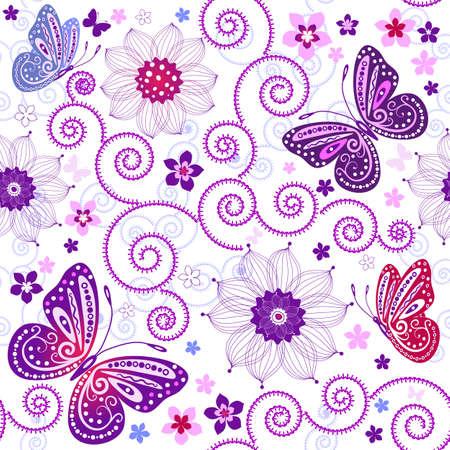 effortless: Patr�n de grunge transparente floral con flores y mariposas Vectores