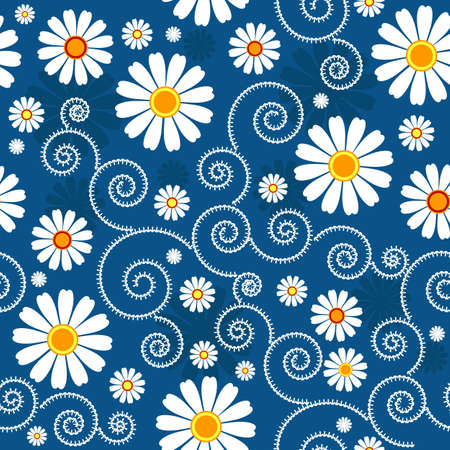 Dark blue floral pattern with white flowers (vector) Vector