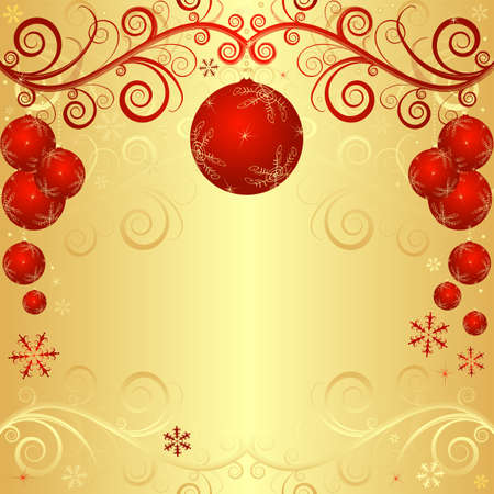 Golden christmas frame with red balls and curls (vector) Stock Vector - 8848082