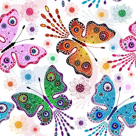 Effortless floral pattern with bright butterflies and flowers (vector)  Vector