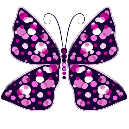 pink butterfly: Dark violet decorative butterfly with pink spots isolated on white  Illustration
