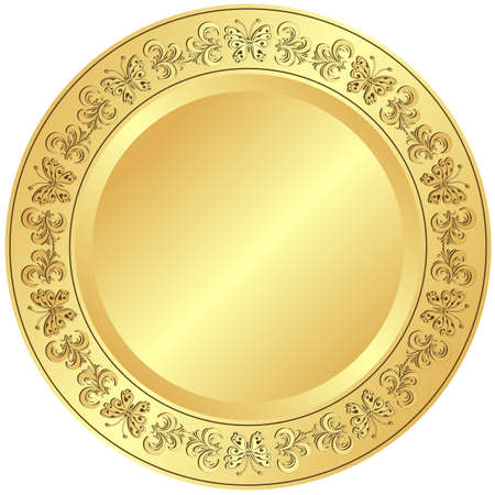 porcelain plate: Golden plate with  floral ornament on white background