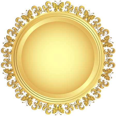 Gold frame with floral ornament on white background  Vector
