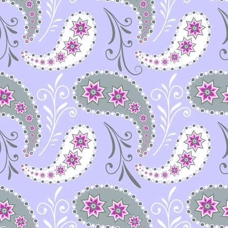 indische muster: Nahtlose grau florales Muster mit Blumen und paisleys  Illustration