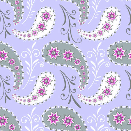 paisley floral: Seamless grey floral pattern with flowers and paisleys  Illustration