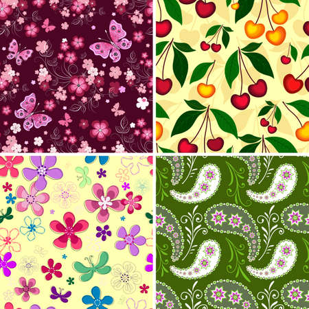 abstract fruit: Set seamless spring vivid floral patterns