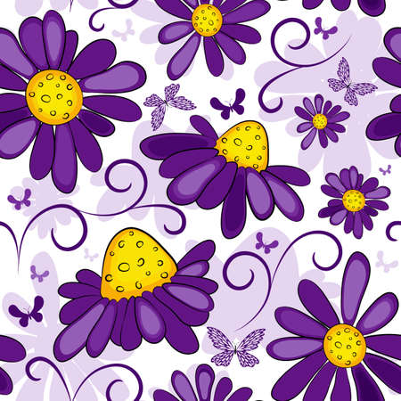 Floral seamless white-violet pattern with flowers and butterflies Vector