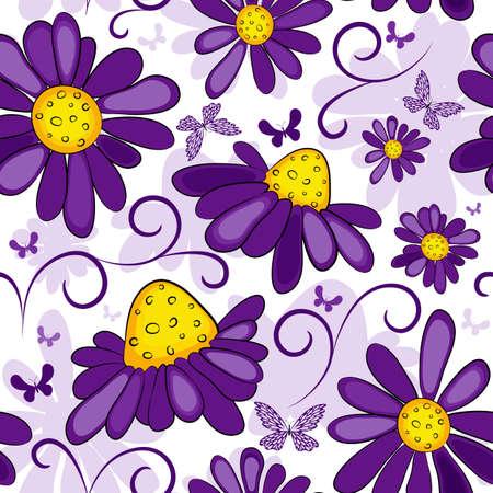 fondos colores pastel: Patr�n de blanco-violeta transparente floral con flores y mariposas