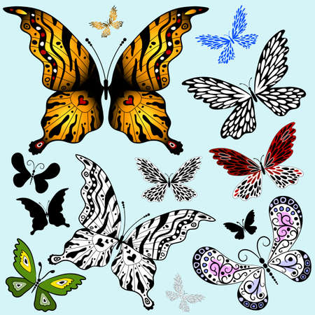 handwork: Set abstract butterflies for design on blue