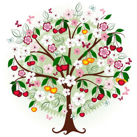 Decorative cherry tree with flowers, berries and butterflies  Vector