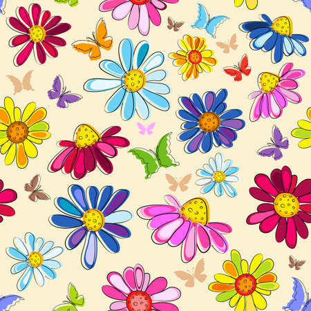 Effortless pink pastel floral pattern with butterflies and flowers Illustration
