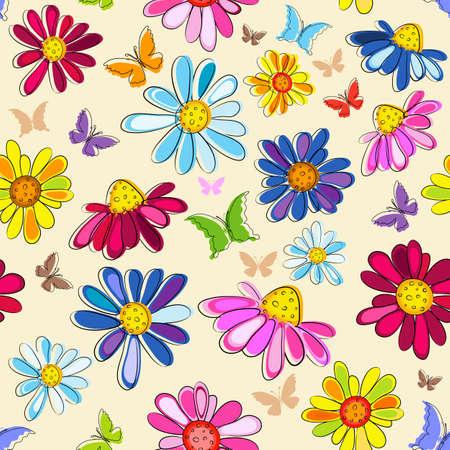 papillon rose: Motif floral pastel rose sans effort avec des fleurs et de papillons