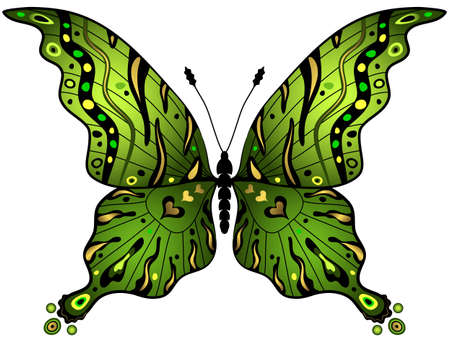butterfly isolated: Green and gold decorative butterfly isolated on white