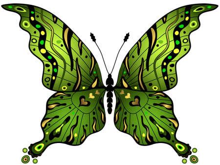 trabajo manual: Verde y oro mariposa decorativo aislado en blanco