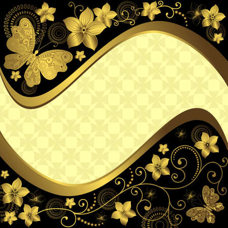 Decorative black and golden frame with flowers and butterflies Vector