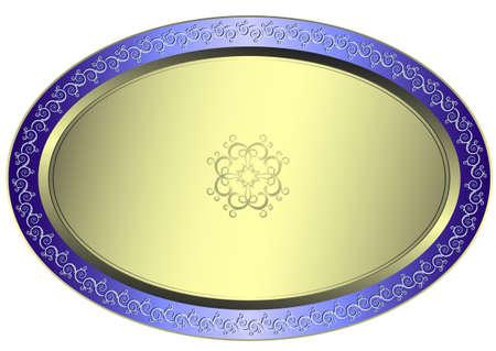 circulaire: Assiette ovale argent� avec ornement floral sur fond blanc