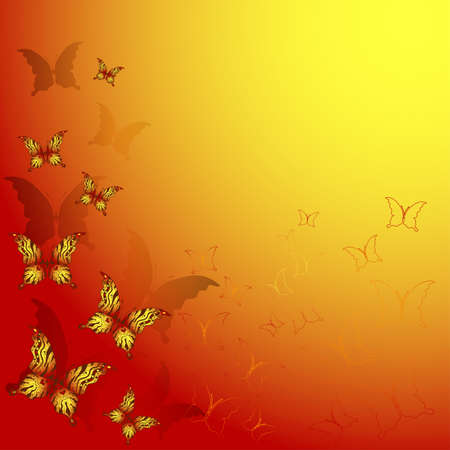 copy space: Decorative red and yellow frame with butterflies  Illustration