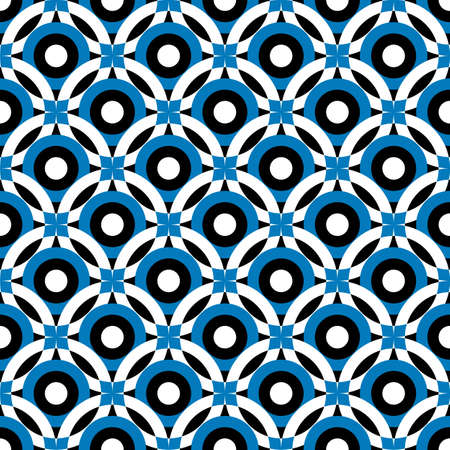seamless geometric: Black and white-blue repeating ornament