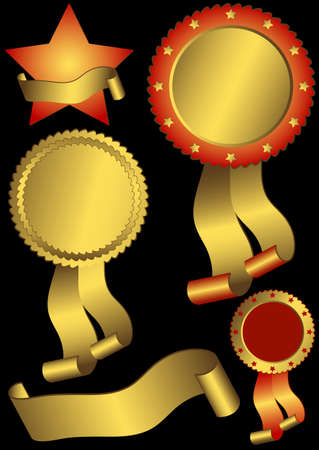 Set metallic awards on a black background (vector) Vector