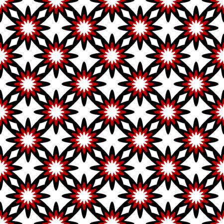 White and black-red seamless floral pattern(vector) Stock Vector - 9103799