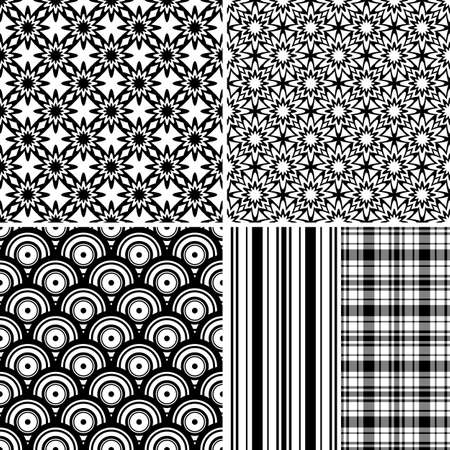 Set seamless black-white and grey patterns (vector)
