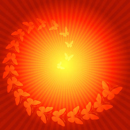 Red and yellow background with rays abd butterflies (eps 10 vector) Vector