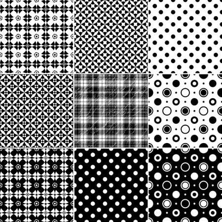 Big collection seamless black-white and grey patterns (vector)