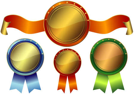 Set gold, silver and bronze awards on a white background (vector EPS10) Vector